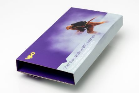 White e-flute capacity bookwrap with full colour digital print throughout Gallery